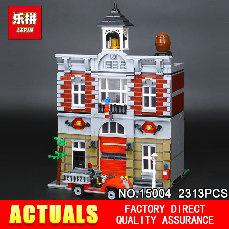 LEPIN 15004 2313Pcs City Street Creator Fire Brigade Model Building Kits Blocks Bricks Compatible 10197 children toy lepin 15004 2313pcs city creator fire brigade model kits figures street building blocks bricks compatible toys gift 10197