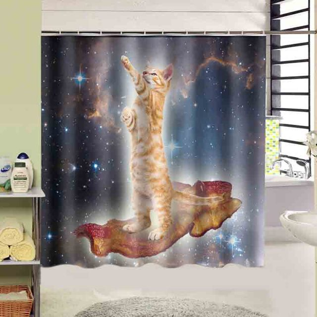 Space Cat Star Print Bath Curtain Decors Squre 180x180 CM High Quality Waterproof Shower On
