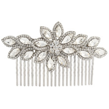 BELLA Fashion Clear Flower Austrian Crystal Hair Comb Wedding Rhinestone Accessories Jewelry for Bridal Women