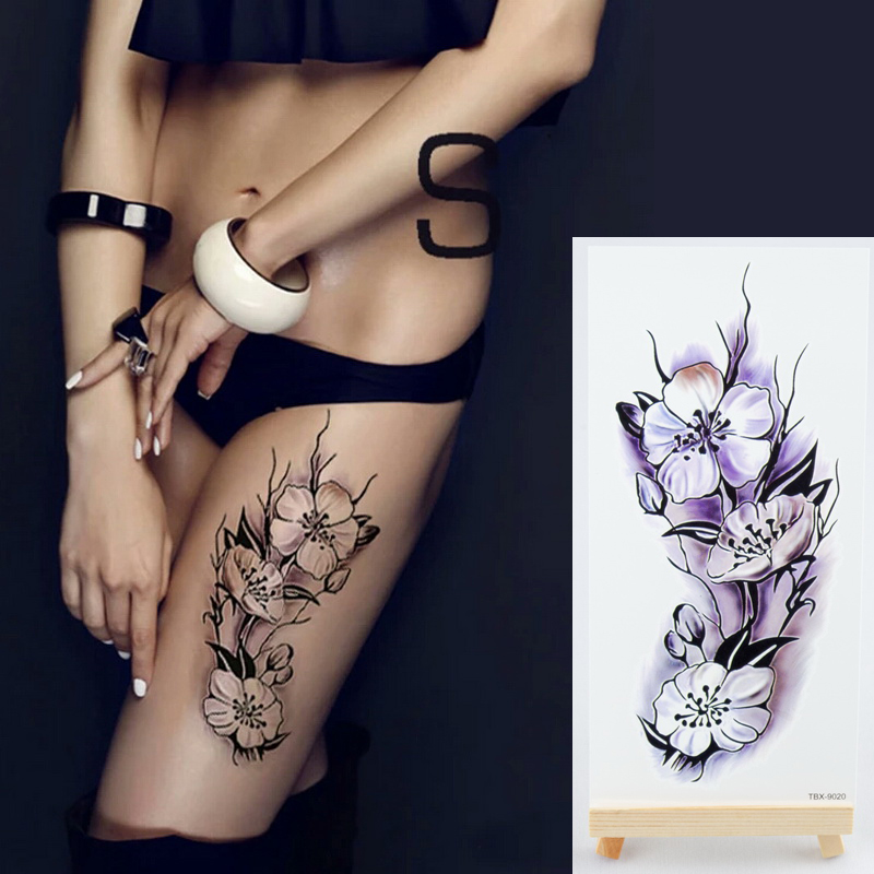 1 pi ce nouveau faux tatouage temporaire autocollants 28 styles violet fleurs rose bras paule. Black Bedroom Furniture Sets. Home Design Ideas