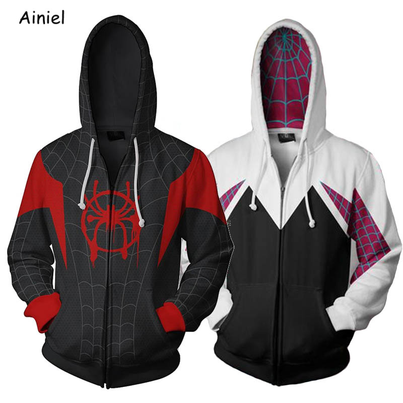 Spider-Man:Into The Spider-Verse Venom Deadpool Captain Marvel Cosplay Costume Coat Jacket Sweater Casual Hoodie Adult Men Women