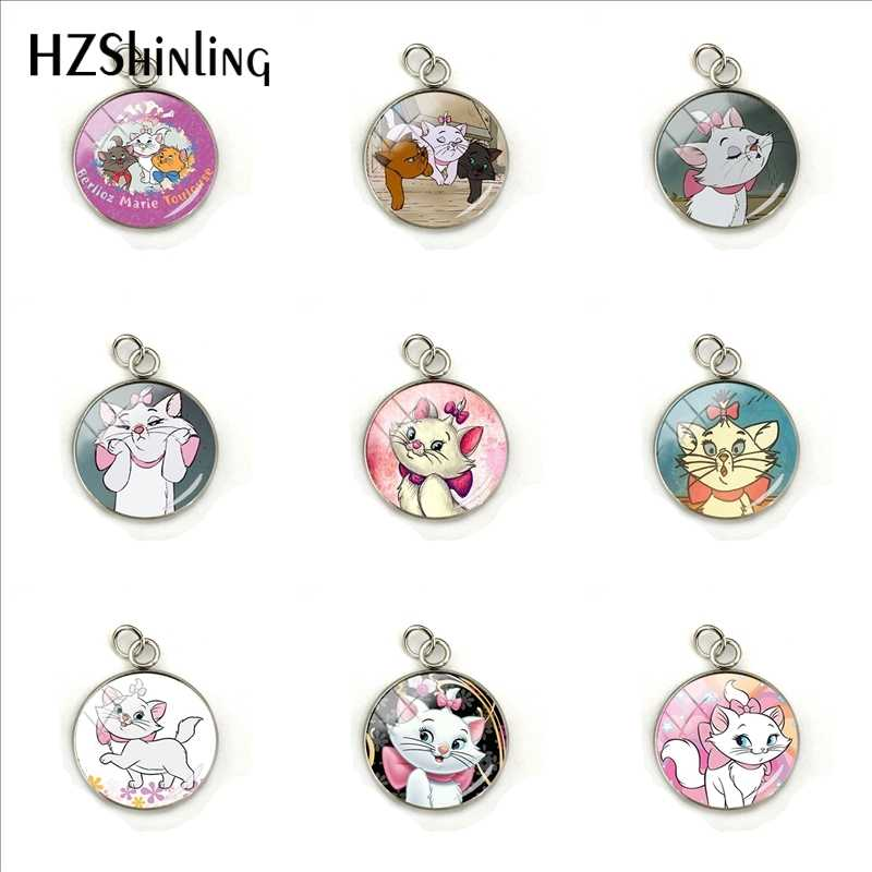 2019 New Fashion Marie Cartoon Pattern Glass Pendant The Aristocats Anime Jewelry Pendants Hand Craft Charms for Girls Gifts