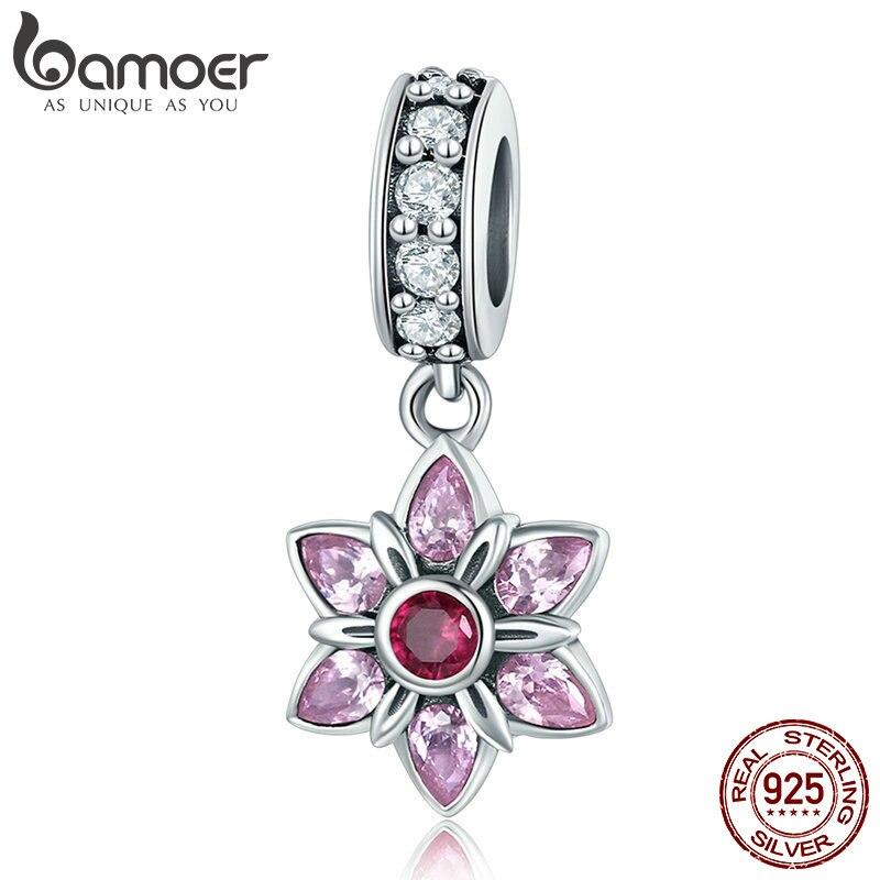 BAMOER 100% 925 Sterling Silver Pendant Pink Crystal Spring Flower Pink CZ Charm fit Charm Bracelet & Necklace Jewelry SCC840 pink flower print fit