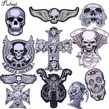 Pulaqi Punk Skull Patch Biker Rock Large Embroidered Motorcycle Band Patches For Clothes Jacket Big Wings Back Badge H