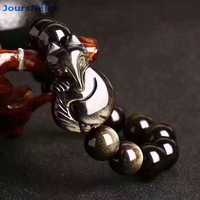 Großhandel Schwarz Gold Natürlichen Obsidian Armbänder Perlen Fuchs Armband für Männer Frauen Energie stein Hand String Helfen ehe Sicher