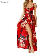 Fashion Women Summer  holiday Boho Floral Spaghtti Strap Beach Dress Split Long Maxi Laipelar