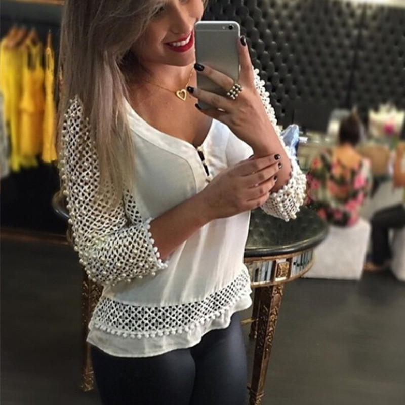 ZANZEA Women Blouse 2018 Spring Summer Blusa Feminina Lace White Shirt V-neck 3/4 Sleeve Hollow Casual Plus Size Chiffon Tops