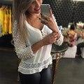 2017 Весна Sexy Кружева Шифон Блузка Женщины V-образным Вырезом 3/4 Рукав Выдалбливают Белые Рубашки Случайные Свободные Топы Плюс Размер S-3XL Blusas