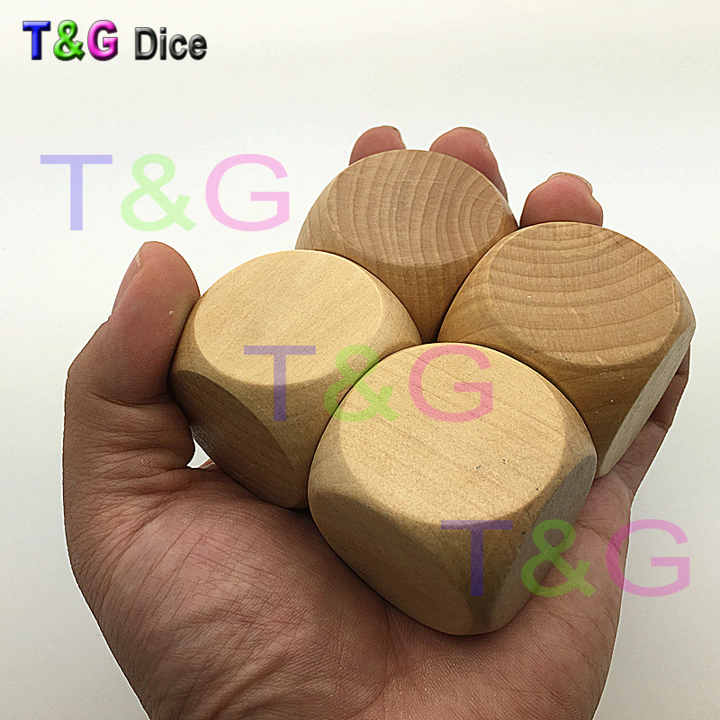 Original Wood Dice 10PCS 40*40*40mm Blank Faces for printing engraving logo Kid Toys Game 6 Sided Dice