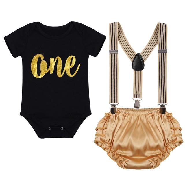 b497330848a5 3pcs Set Newborn Baby Boy Girl 1st Birthday Cake Smash Outfits Romper +  Suspenders + Shorts