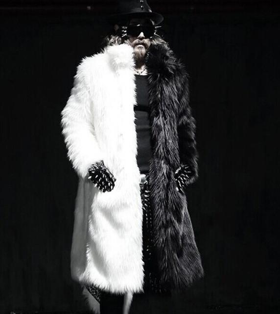 Los hombres de Piel Abrigo de Invierno 2016 Más El Tamaño Del Faux Abrigo de Piel de Los Hombres Punk Parka Abrigos Largo Abrigo de Pieles Hombre Chaquetas de Cuero De Cuerpo Entero K239