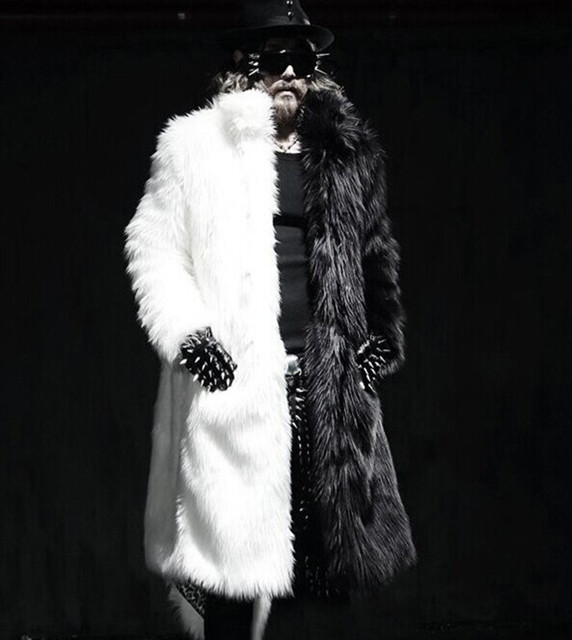 Men Fur Coat Winter 2016 Plus Size Faux Fur Coat Men Punk Parka Jackets Full Length Leather Overcoats Long Fur Coat Man K239
