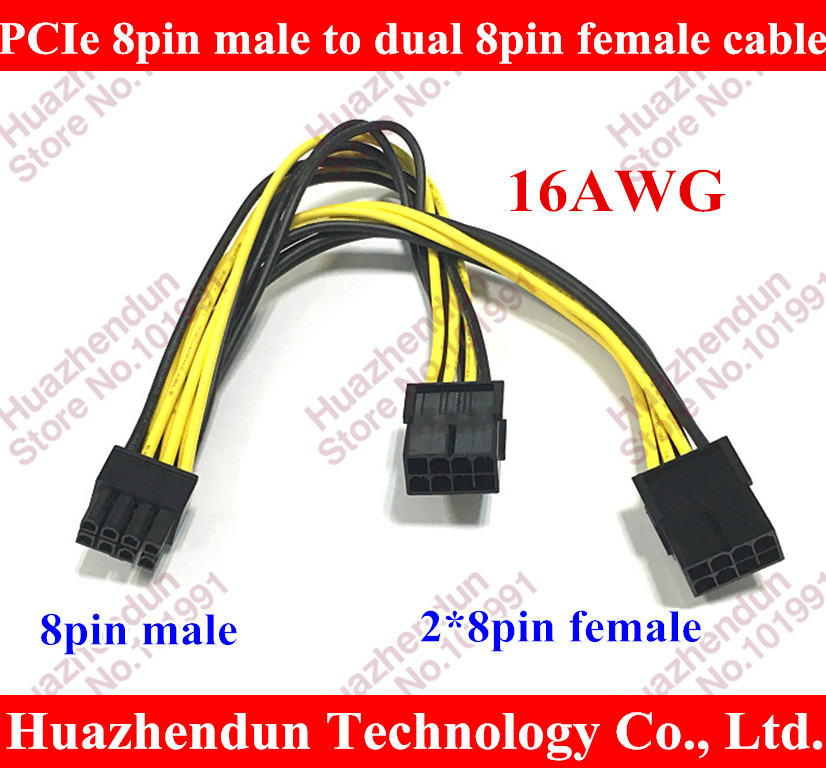 16AWG PCI-E PCI Express Graphics Video Card GPU 8Pin male to Dual 2x 8P ( 6+2 Pin ) female Splitter Power Y Cable Cord Wire 20cm кабель orient c391 pci express video 2x4pin 6pin