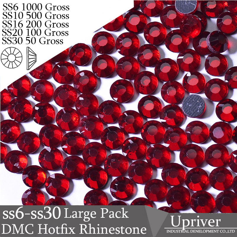 Upriver Wholesale Large Pack SS6 SS10 SS16 SS20 SS30 Dark Siam Loose Strass DMC Hotfix Rhinestones For Shoes