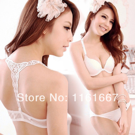 95506d0442 2014 Spring buckle hanging before the new US-Japanese girl back deep v neck  sexy lingerie bra bra gather
