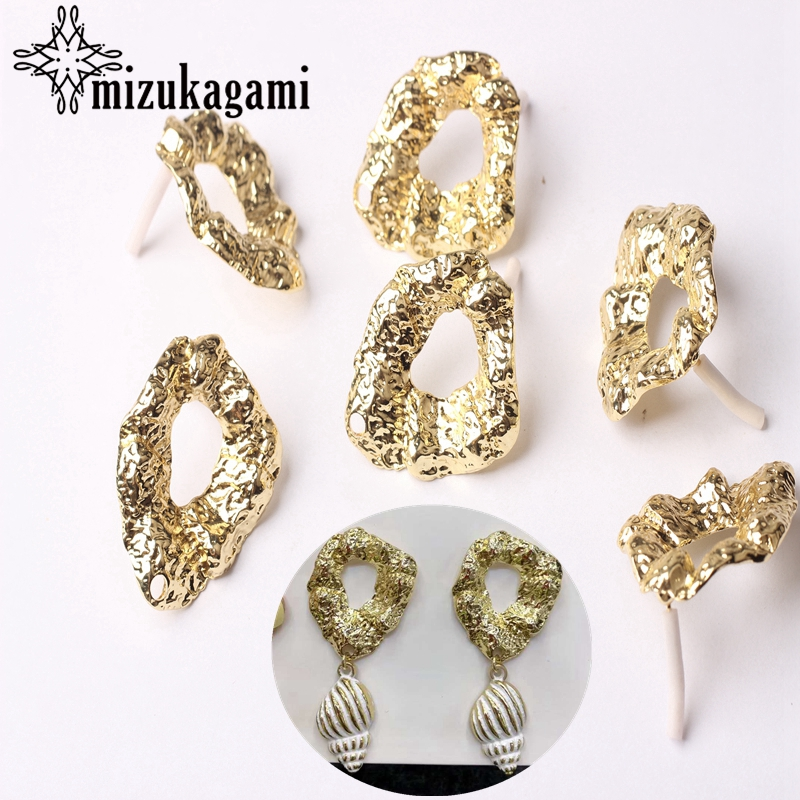 Zinc Alloy Golden Geometry Earrings Connector 23*30mm 6pcs/lot For DIY Fashion Exaggerated Earrings Jewelry Making Accessories