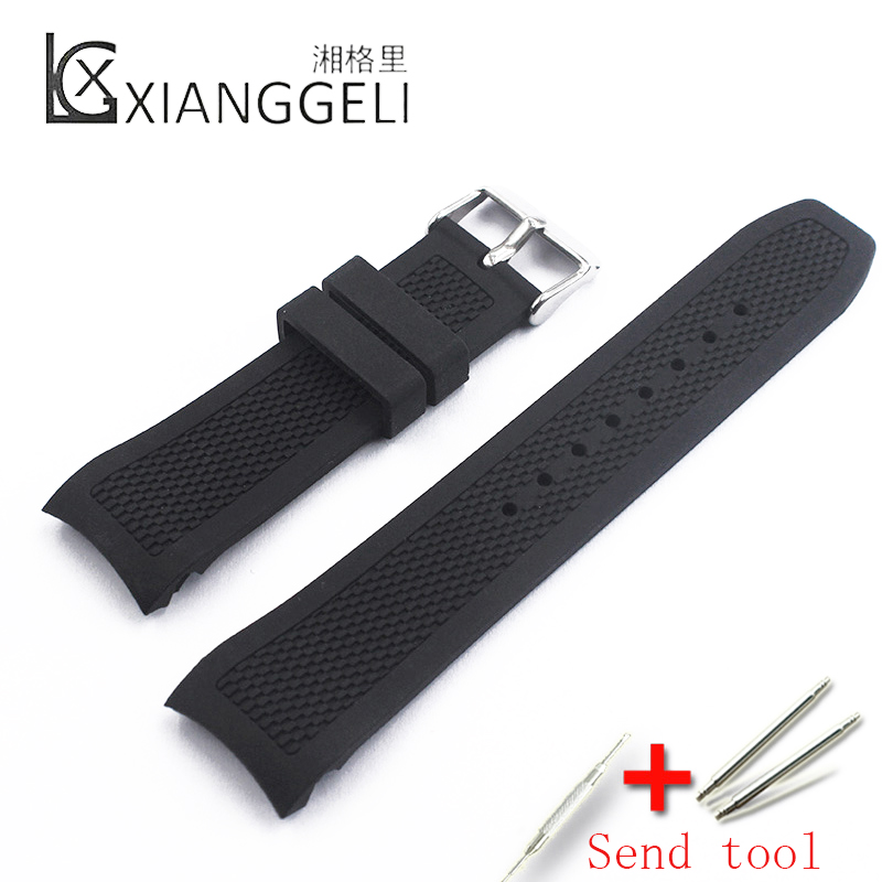 Watch Accessories 22mm Black Silicone Strap Buckle Suitable For Outdoor Sports Diving Men's Rubber Watch Band Arc Interface