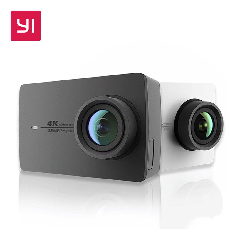 "YI 4K Action Camera Bundle 2,19 ""LCD grūts ekrāns 155 grāds EIS Wifi International Edition Ambarella 12MP CMOS sporta kamera"