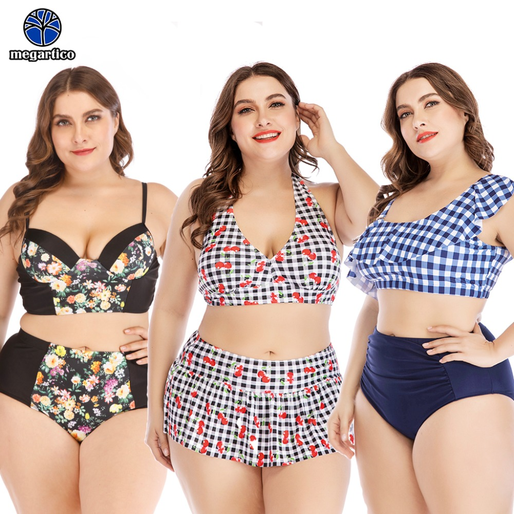 Megartico Large size bikini push up 2019 women swimsuit 4xl 2 pieces set high quality monokini swim wear women plus size xxxl 1