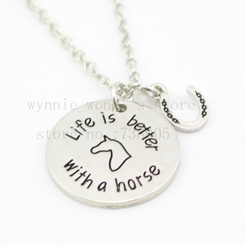 """2015 new Silver Pet Loss jewelry """"Life is Better with a horse"""" necklace horseshoe Pendant Necklace gifts for horse lovers"""