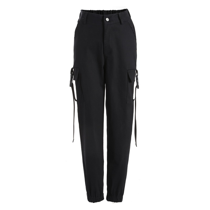 ADISPUTENT Streetwear Cargo Pants Women Casual Joggers Black High Waist Loose Female Trousers Korean Style Ladies Pants Capri 21