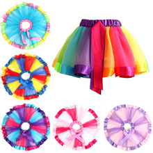 Summer Colorful Baby Girl Tutu Skirt Fashion Lucky Child Birthday Party Clothes Rainbow Princess for Ballet 1-9Y