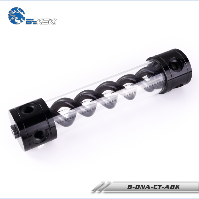 BYKSKI Longueur 180mm/260mm X 50mm En Aluminium Acrylique Double Helix T Virus Réservoir Watercooling AL d'eau réservoir Lumière noir G1/4
