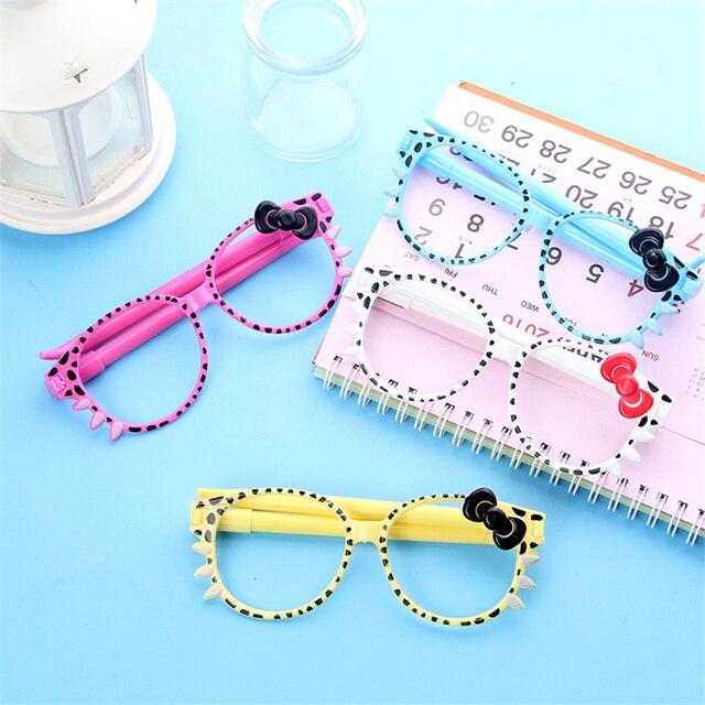 4fe0d26397 4 Pcs   Lot Promotional Pen Fashion Frame Cute Kittens Bowknot Creative Cartoon  Ballpoint Pen Glasses For School Stationery
