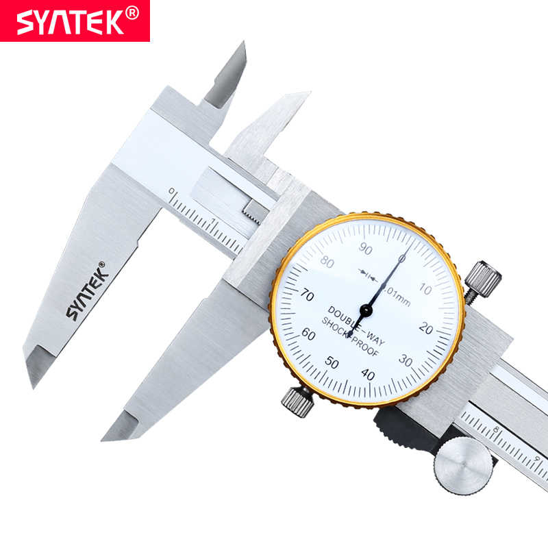 Syntek 0-200mm Metric Gauge Alat Pengukur Dial vernier caliper Shock-proof Vernier Caliper 0.01mm