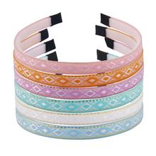 6pcs Solid Satin Covered Hairbands for Women Girls Plastic Headbands Handmade Candy Color Hair Accessories