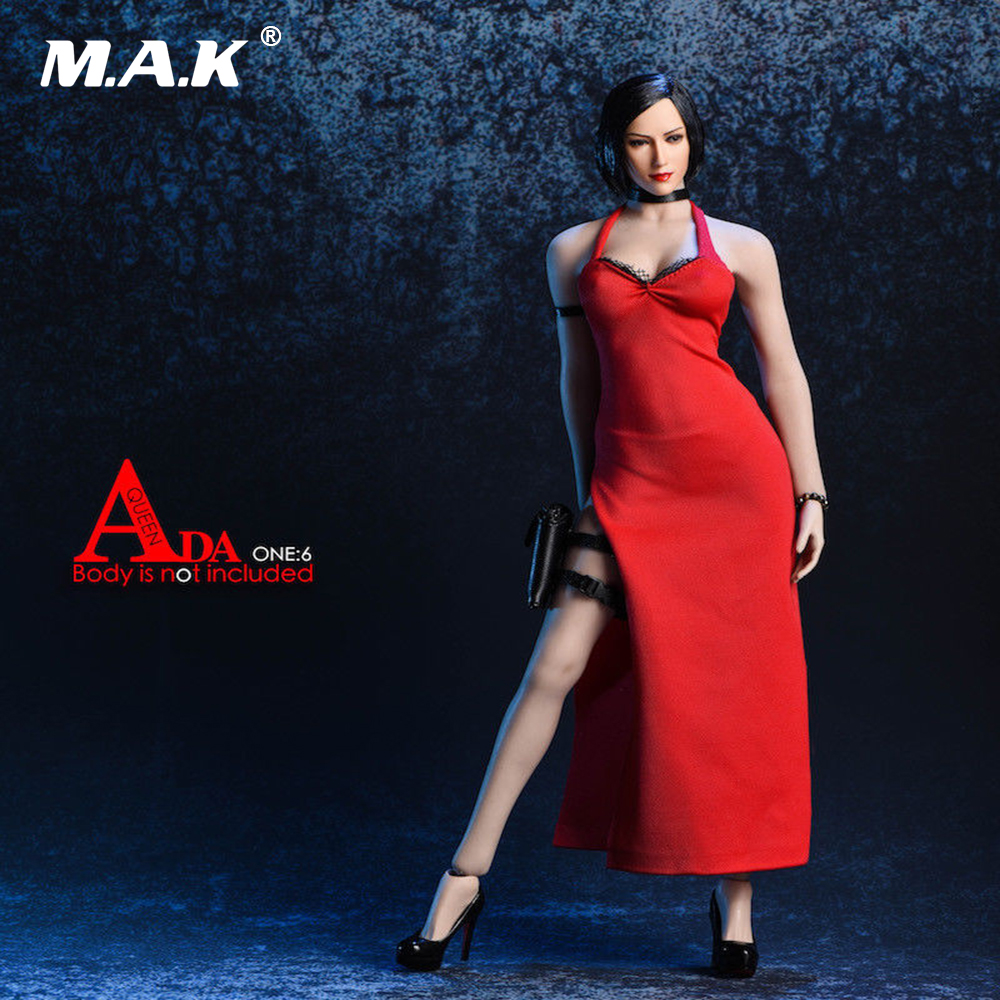 1/6 Scale Sexy Hanging Neck Long Skirt Female Solider Clothes Ada Wong Shirt Black/Red Evening Dress Accessory Set for Figure1/6 Scale Sexy Hanging Neck Long Skirt Female Solider Clothes Ada Wong Shirt Black/Red Evening Dress Accessory Set for Figure