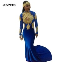 High Neck Long Sleeves Royal Blue Prom Dress With Gold Appliques Beads Long Mermaid Party Gowns Women vestidos de festa azul