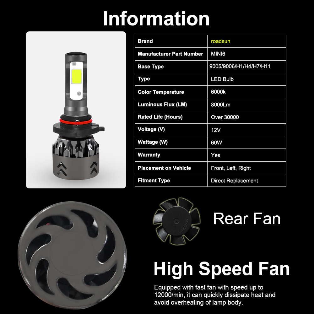 roadsun H7 Led Headlights Car Light Kit H4 H11 Bulb H8 H1 LED HB4 9006 9005 HB3 6000K 60W 12V Auto Headlamp Lamp Automotivo