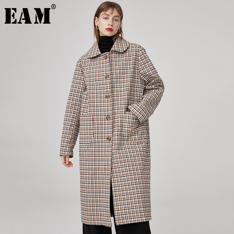 [EAM] 2019 New Spring Lapel Long Sleeve Khaki Plaid Printed Loose Long Large Size Woolen Coat Women Parkas Fashion JK768