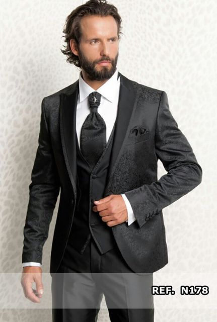 Custom Made Wedding Tuxedos Men Suits Taliored Men Event Ceremony Tuxedos Jacquard Silk Fabric Suits