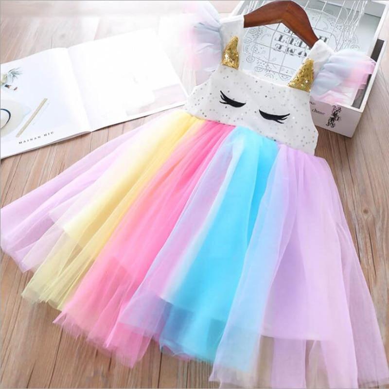 Baby Girls Unicorn Rainbow Christmas Brithday Sequin Tutu Dresses Clothes Children Kids Princess Party Little Pony Clothing 5