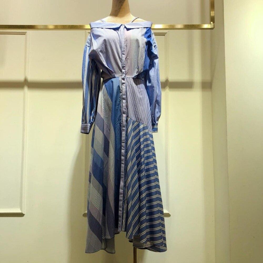 2019 printemps et été femmes nouveau rayé imprimé longue robe 0508