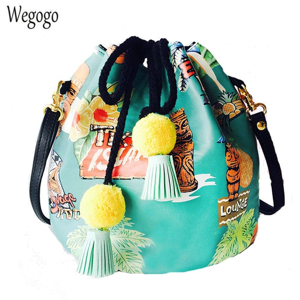 Original New Bucket Bag Print Shoulder Messenger Bag Leather Small Drawstring Handbags Tassel Pompom Crossbody Travel Beach Bag black drawstring bucket woven beach bag