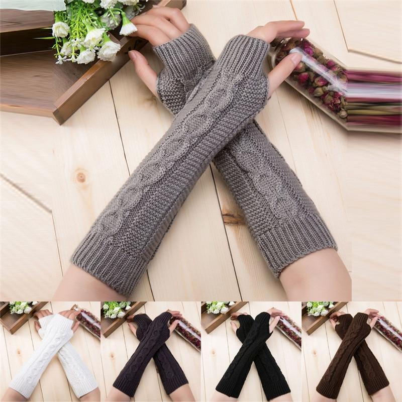 Fashion Women Knitted Fingerless Winter Gloves Soft Warm Mitten Hand Gloves Guantes Eldiven Handschoenen 40FE19
