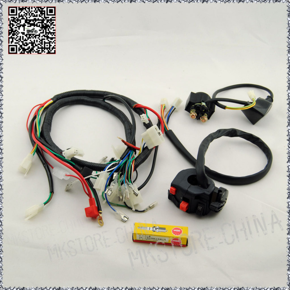 medium resolution of 250cc ngk spark plug switch solenoid quad wiring harness chinese 200 250ccelectric start