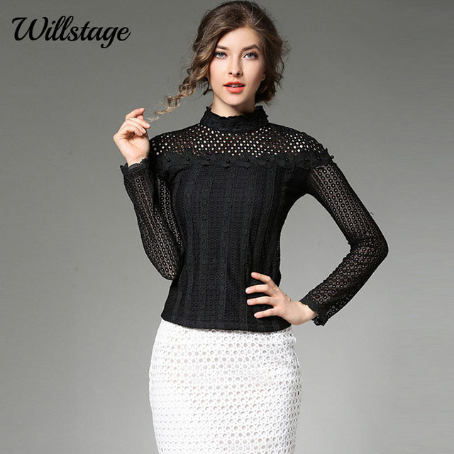 0d37f00c19f Willstage Black Lace Blouse Women Long Sleeve Hollow out Mesh bead Shirts  Skinny White Tops Office
