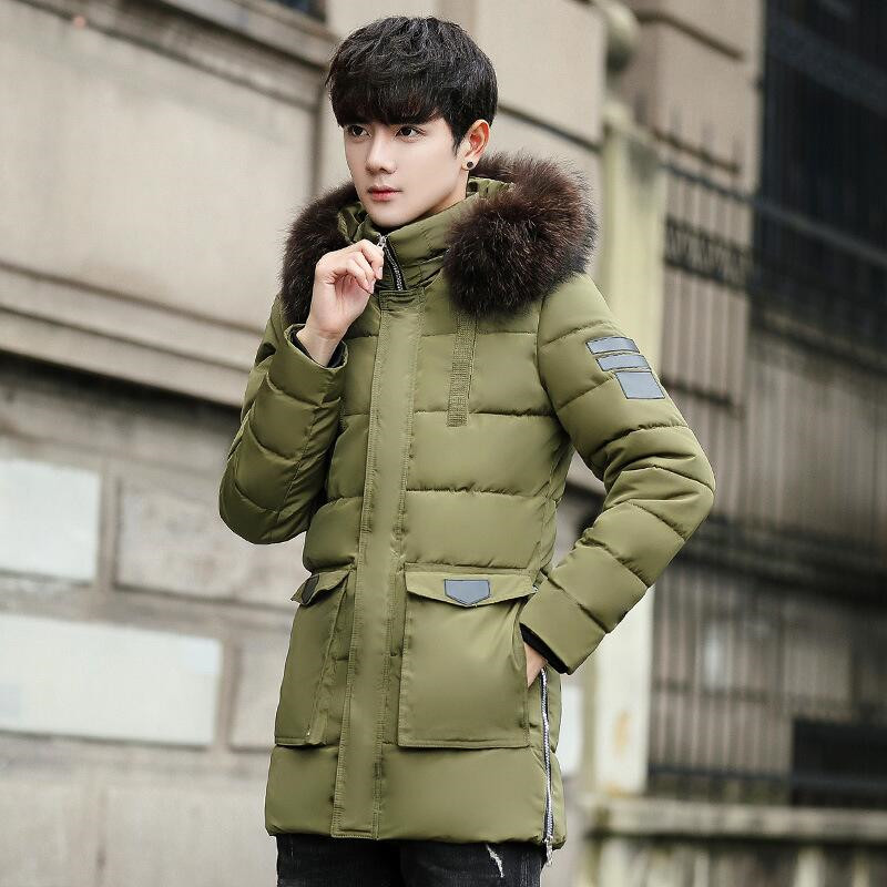 Casual Thicken Winter   Parkas   Men 2019 New Long Coat Solid Color Warm Cotton Hooded Jacket Outerwear   Parkas   With Pockets Street
