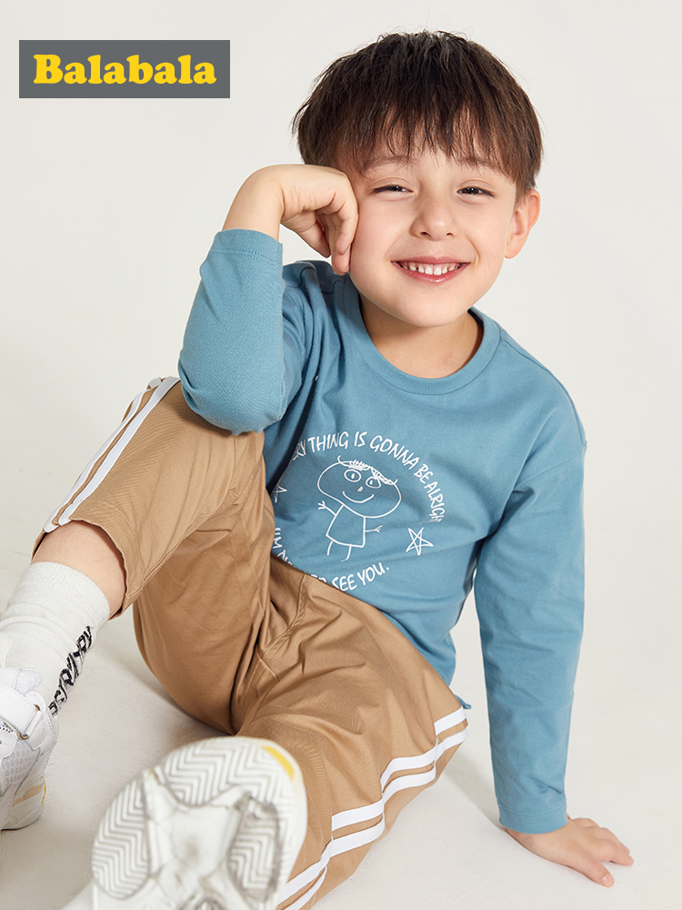Balabala T-Shirt Graphic Long-Sleeve Toddler Clothing Tops Autumn Boys Kids Children