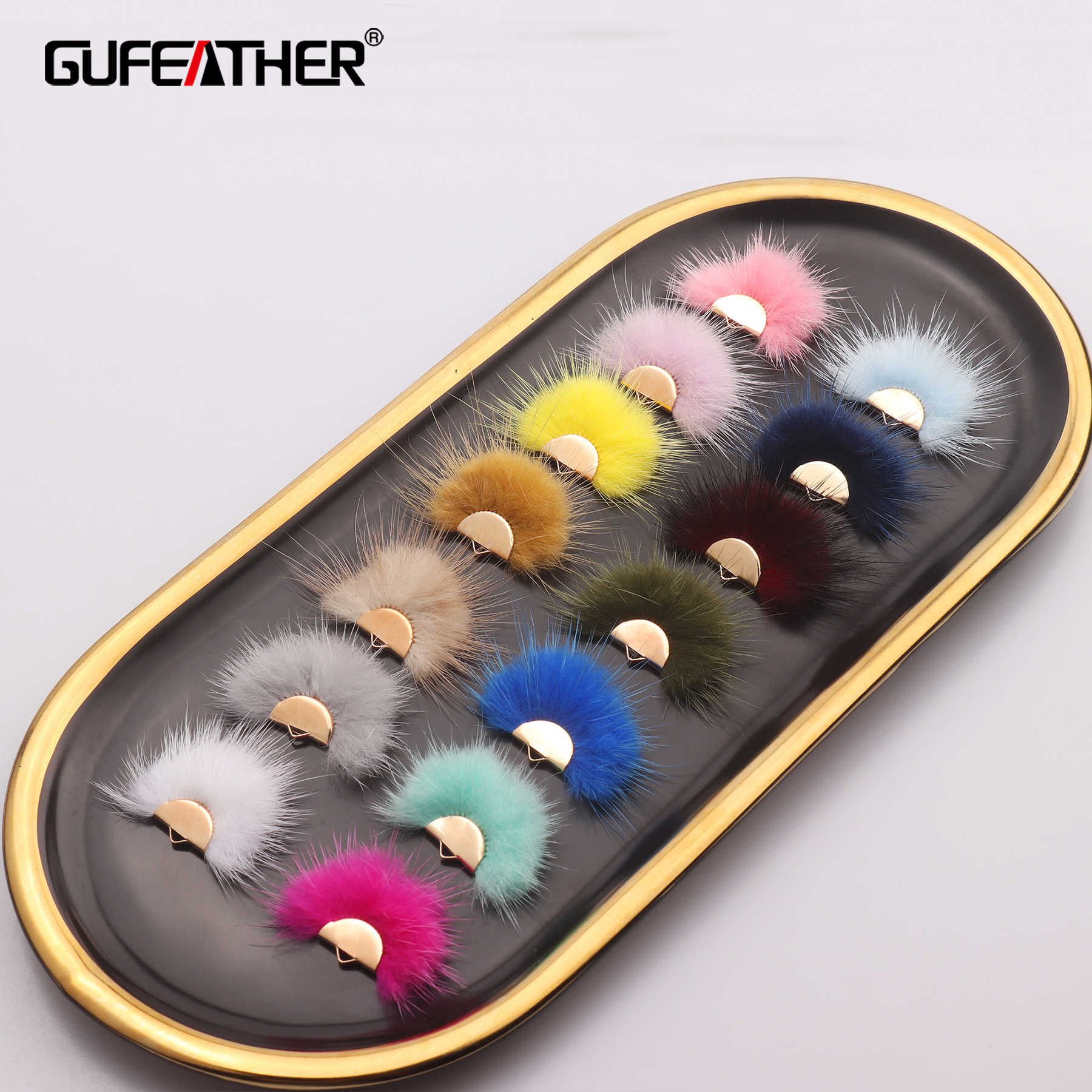GUFEATHER L199, tua rua, thật lông chồn, phụ kiện trang sức, vòng tay, hoa tai phụ kiện, trang sức làm, tự làm bông tai 10 cái/lốc