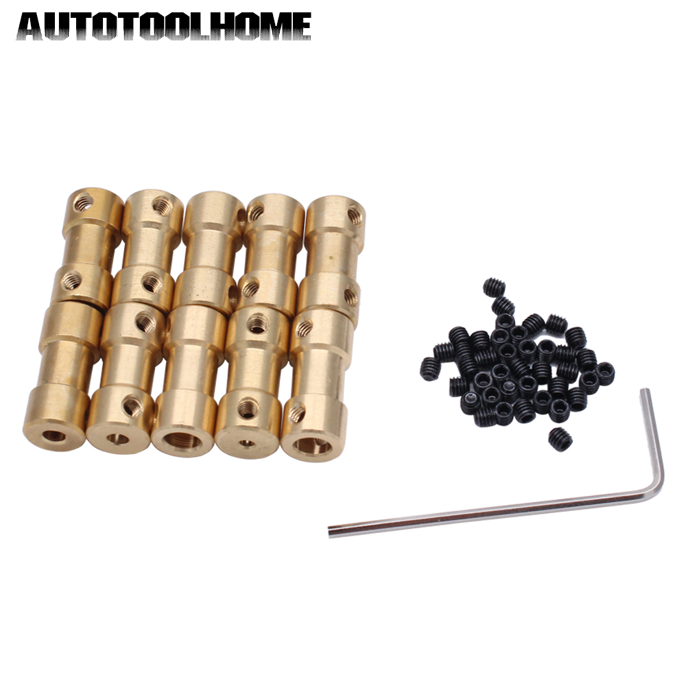 10pcs 2 3 3.17 4 5mm to 3.17 mm Brass Shaft Motor Flexible Coupling Coupler length 20mm Hobby Hand Tool motor shaft joint coupling brass coupler shank connector transmission 3 17mm to 2 3 4 5mm rc airplane car model hobby power tool