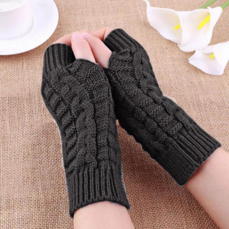 2017 Fashion Knitted Arm Fingerless Warm Winter Gloves