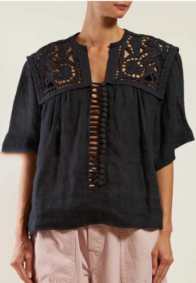 Woman Black linen Gane blouse Top Broderie anglaise panels Embroidery Buttoned Down Front Short Sleeved