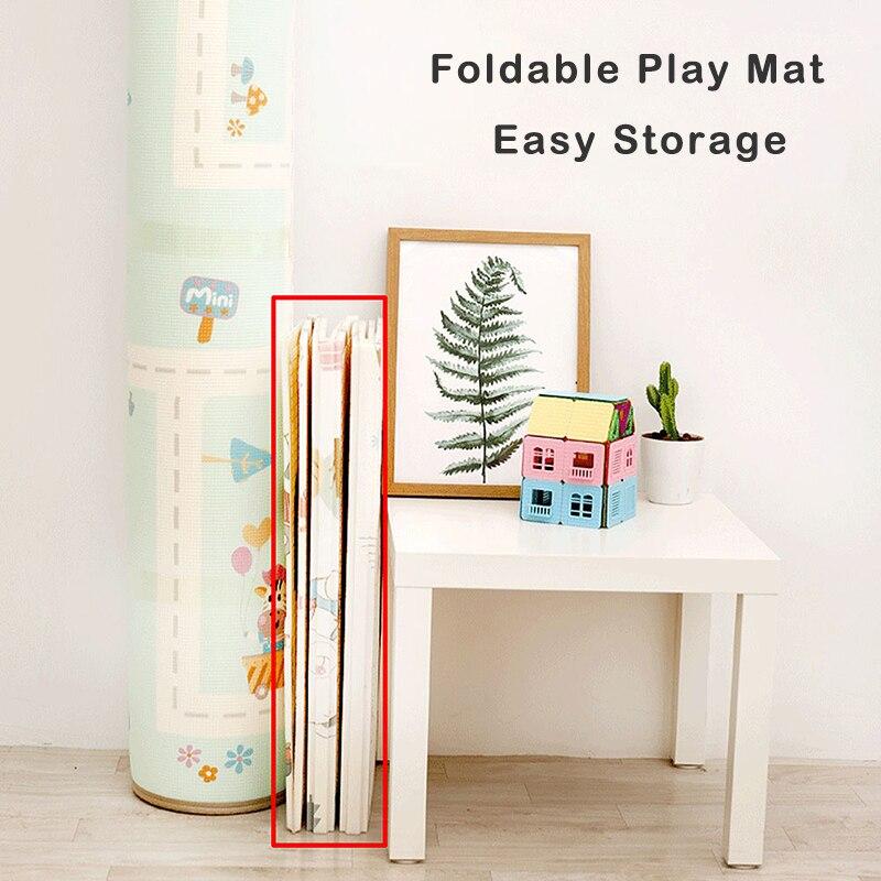 Bébé brillant 200 cm * 180 cm * 1 cm bébé jouer tapis pliant XPE ramper Pad maison en plein air pliant imperméable Puzzle jeu Playmat - 6