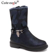 Winter Waterproof Girls Felt Boots Pu Leather Mid-Calf Childrens Shoes Warm Plush Rubber Snow for EU 27-32