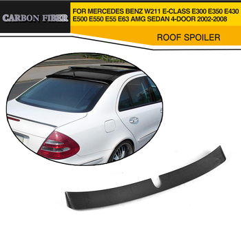 Carbon Fiber Car Rear Roof Spoiler Lip For Mercedes Benz W211 E Class E300 E430 E500 E55 E63 AMG Sedan 4 Door 02-08
